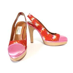 Lanvin Red Pink Silk Satin Wooden Slingback Pumps
